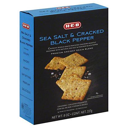 H-E-B Sea Salt and Cracked Black Pepper Crackers, 8 oz