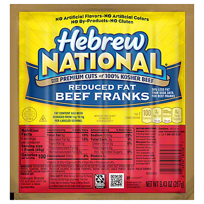 Hebrew National Reduced Fat Beef Franks,7 CT