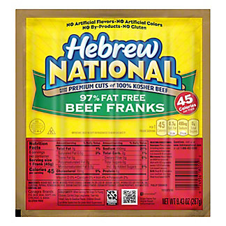 Hebrew National 97% Fat Free Beef Franks,7 CT