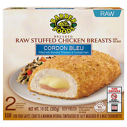 Barber Foods Breaded Raw Cordon Bleu Stuffed Chicken Breasts 2 Ct