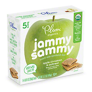 Plum Organics Kids Jammy Sammy Apple Cinnamon & Oatmeal Snack Size Sandwich Bar,5 CT