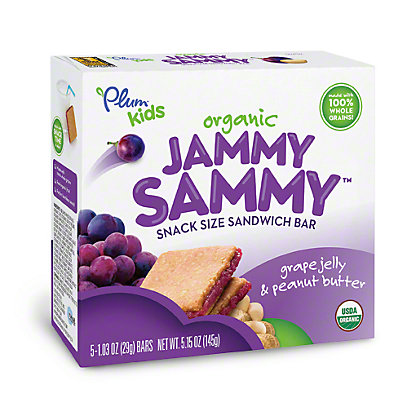 Plum Organics Kids Jammy Sammy Grape Jelly & Peanut Butter Snack Size Sandwich Bar,5 CT