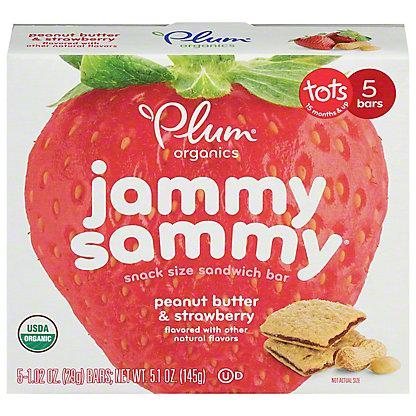 Plum Organics Kids Jammy Sammy Strawberry Jam & Peanut Butter Snack Size Sandwich Bar,5 CT