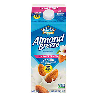 Blue Diamond Almond Breeze Vanilla Unsweetened Almondmilk, 1/2 gal