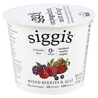 Siggi's Strained Non-Fat Icelandic Style Skyr Acai and Mixed Berries Yogurt, 5.3 oz