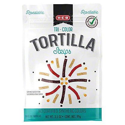 H-E-B Tri-color Tortilla Strips, 3.50 oz