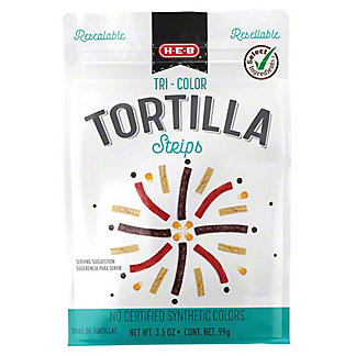 H-E-B Tri-color Tortilla Strips, 3.50 oz