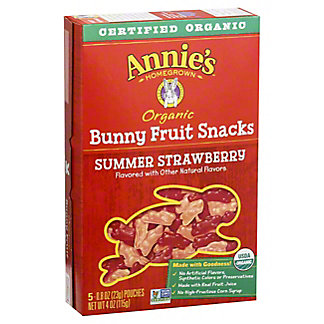 Annie's Homegrown Organic Bunny Summer Strawberry Fruit Snacks,5 CT