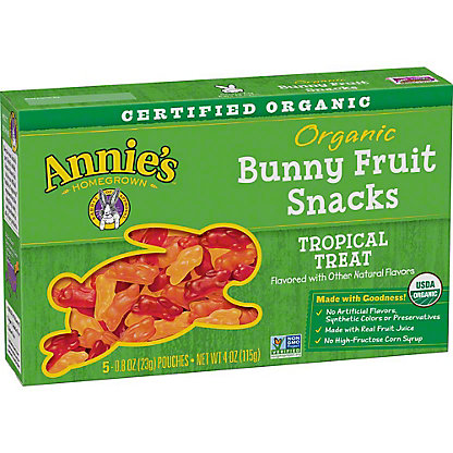 Annie's Homegrown Organic Bunny Tropical Treat Fruit Snacks,5 CT