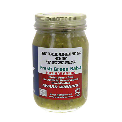 Wrights of Texas Salsa Fresh Green Hot Habanero,16 oz