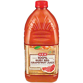 H-E-B Select Ingredients 100% Ruby Red Grapefruit Juice, 64 oz