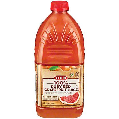 H-E-B Select Ingredients 100% Ruby Red Grapefruit Juice, 64 oz