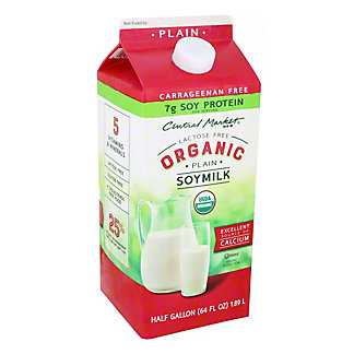 Central Market Organics Plain Soymilk,1/2 gal