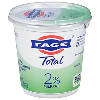 Fage Total 2% Plain Greek Strained Lowfat Yogurt, 35.3 oz