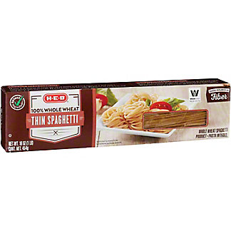 H-E-B Select Ingredients 100% Whole Wheat Thin Spaghetti Pasta, 16 oz
