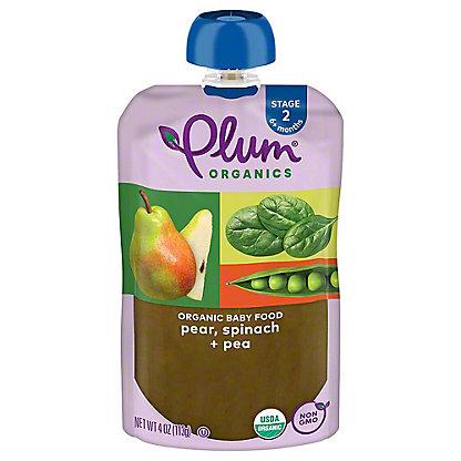 Plum Organics Stage 2 Spinach Peas & Pear Baby Food,4 OZ