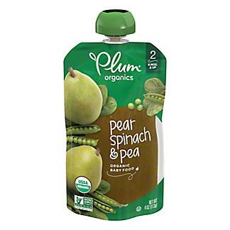 Plum Organics Stage 2 Spinach Peas & Pear Baby Food,4 OZ
