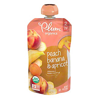 Plum Organics Baby Stage 2 Peach, Apricot and Banana  Baby Food, 4 oz