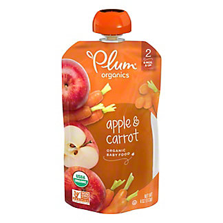 Plum Organics Stage 2 Apple and Carrot Baby Food,4 OZ