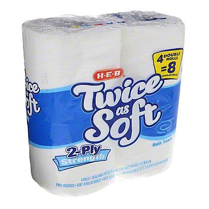 H-E-B Twice as Soft Double Rolls Bath Tissue, 4 ct
