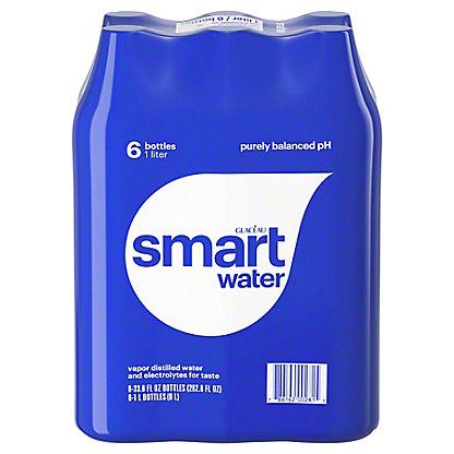 Glaceau Smartwater Vapor Distilled Electrolyte Water 6 PK, 33.8 oz