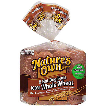 Nature's Own 100% Whole Wheat Hot Dog Rolls,8 CT