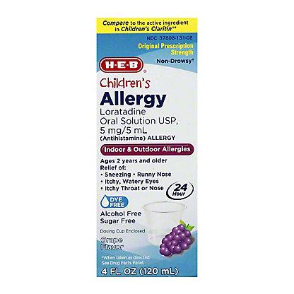 H-E-B Children's Allergy Relief Loratadine 5 mg Sugar Free Grape Syrup, 4 oz
