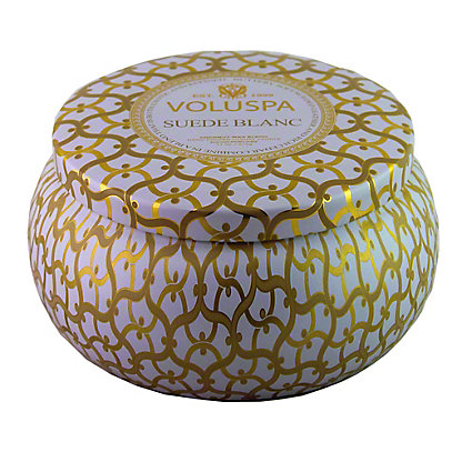 Voluspa Voluspa 2 Wick Tin Candle Suede Blanc,11 OZ