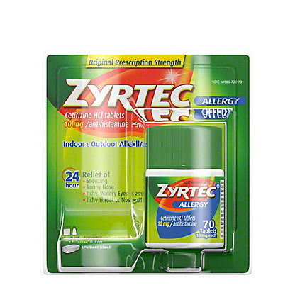 Zyrtec Allergy Tablets, 70 ct