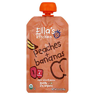 Ella's Kitchen Stage 1 Peaches & Bananas Super Smooth Puree,3.5 OZ