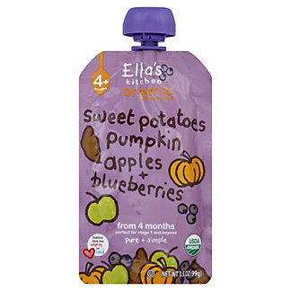 Ella's Kitchen Stage 1 Sweet Potatoes Pumpkins Apples & Blueberries,3.5 OZ