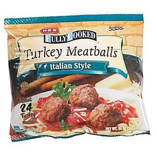 H-E-B Fully Cooked Italian Style Turkey Meatballs,14 OZ