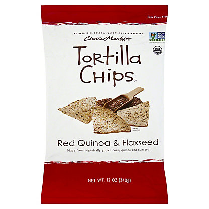 Central Market Organics Red Quinoa & Flaxseed Tortilla Chips With Sea Salt, 12 oz