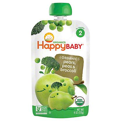 Happy Baby Organics Stage 2 Broccoli, Peas and Pear Organic Baby Food, 4 oz