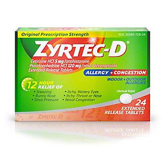 Zyrtec D 12 Hour Original Prescription Strength, 24 CT, EACH