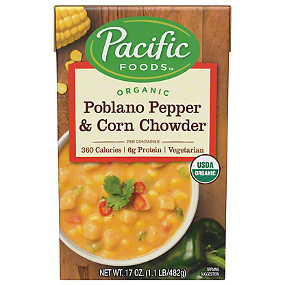 Pacific Foods Organic Poblano Pepper and Corn Chowder, 17.6 oz