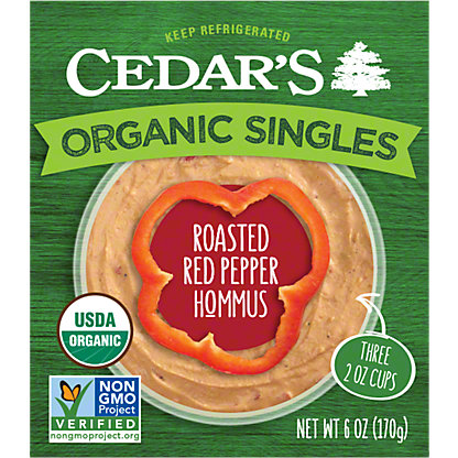 Cedar's Organic Hommus Roasted Red Pepper, 3-2 OZ