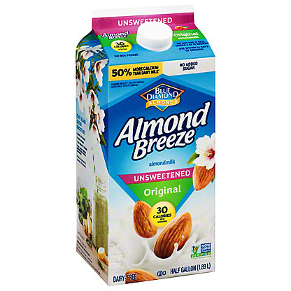 Blue Diamond Almond Breeze Original Unsweetened Almondmilk, 1/2 gal