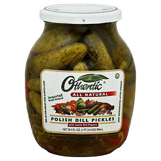 Othentic All Natural Polish Dill Pickles with Sweet Red Peppers,30.OZ