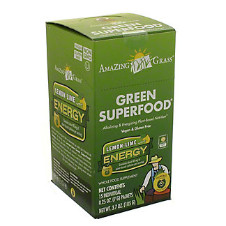Amazing Grass Green Super Food, Lemon Lime Energy Whole Food Supplement, 15 CT