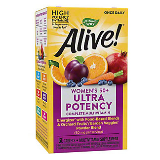 Nature's Way Alive! Once Daily Women's 50+ Ultra Potency Multi-Vitamin & Whole Food Energizer Tablets, 60 ct