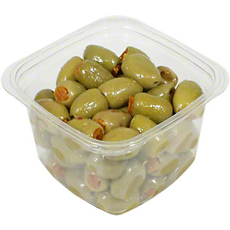 La Medina Green Olives Stuffed With Aji Chile Pepper, Sold by the pound