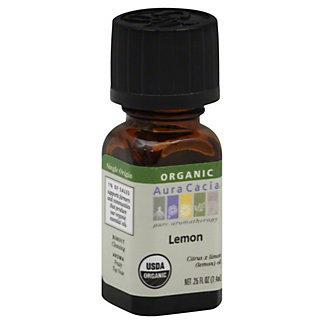 Aura Cacia Certified Organic Lemon Essential Oil, 0.25 oz