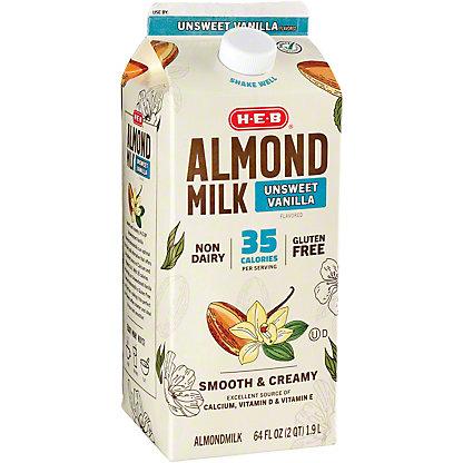 H-E-B Unsweetened Vanilla Almondmilk, 1/2 gal