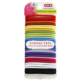 H-E-B Assorted Colors Damage Free Hair Elastic Bands, 30 CT