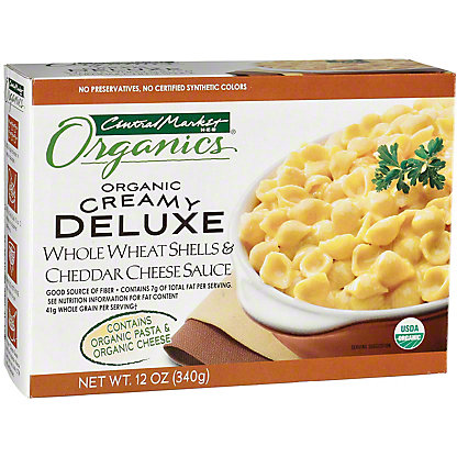 Central Market Organics Creamy Deluxe Whole Wheat Shells and Cheddar Cheese Sauce, 12 oz