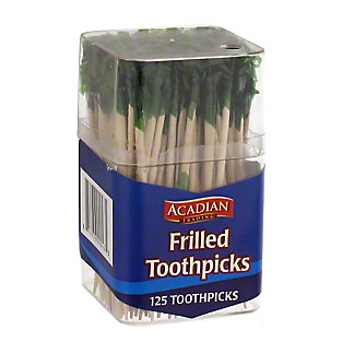 Acadian Trading Frilled Toothpicks Assorted Colors,125 ct