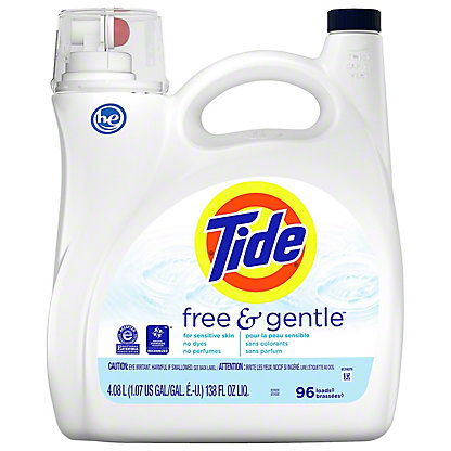 Tide Free and Gentle HE Turbo Clean Liquid Laundry Detergent 96 Loads, 150 oz
