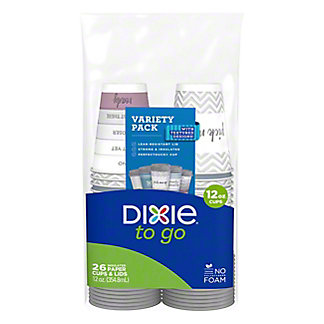 Dixie PerfecTouch Polypropylene 12 oz Cups and Lids, 26 ct