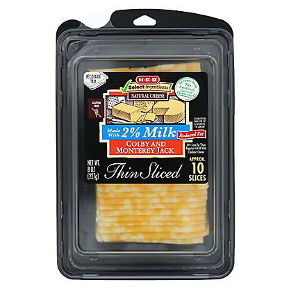H-E-B 2% Milk Colby Jack Thin Sliced Cheese,8 OZ